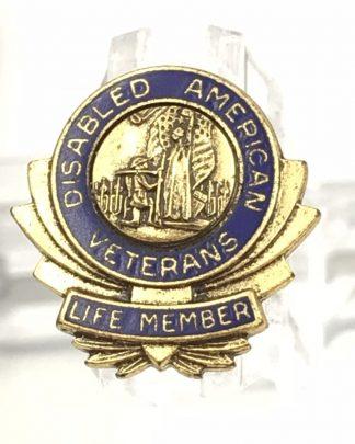Vintage Disabled American Veterans Life Member Gold Toned Pin Blue Enamel