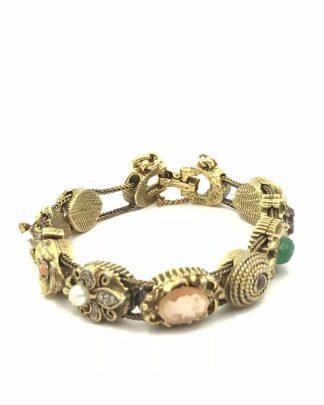 Vintage Goldette NY Victorian Revival Slider Charm Rhinestone Bracelet